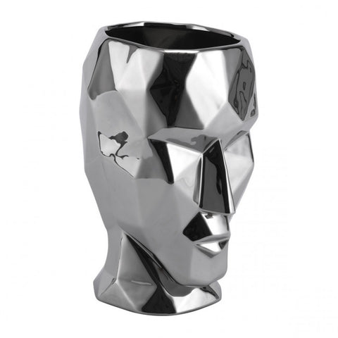 Artistic Silver Face-Like Multi-Faceted Vase