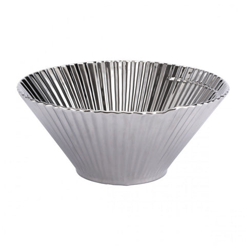 Elegant Pleated Decorative Bowl in Silver
