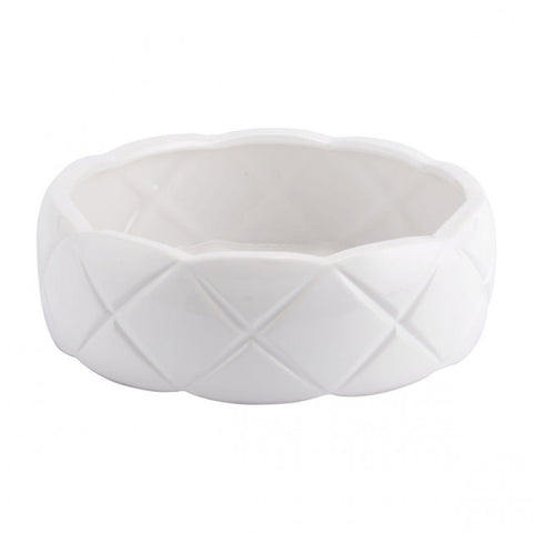 White Bowl w/ Quilted Design & Scalloped Edge
