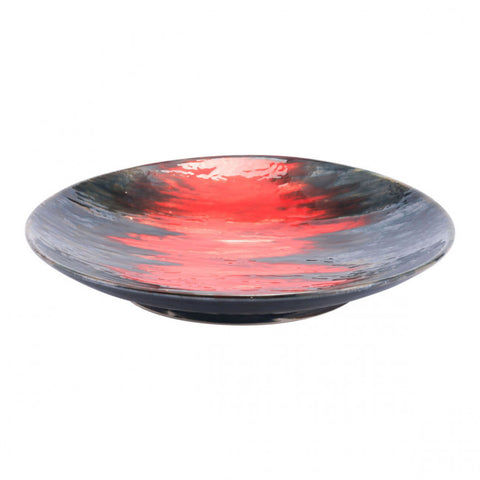 Shallow Bright Lava-Style Decorative Plate in Black & Red