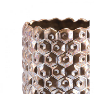 Small Gold Vase w/ Honeycomb Design