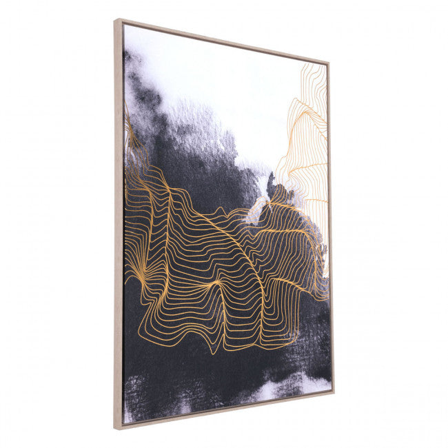 Elegant Office Wall Art w/ Gold Lines & Black & White Background