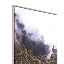 Load image into Gallery viewer, Elegant Office Wall Art w/ Gold Lines & Black & White Background