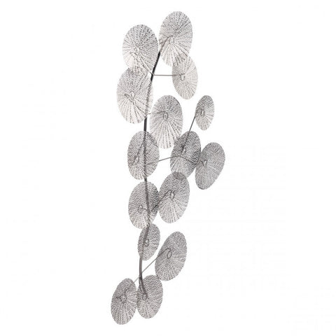 Exquisite Office Wall Art of Perforated Silver Leaves