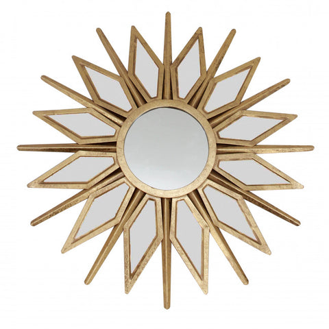 Gold Star-Style Mirror w/ Radiant Sunburst Design