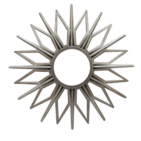 Silver Star-Style Mirror w/ Radiant Sunburst Design