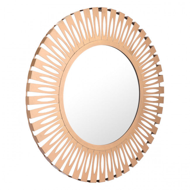 Steel & Gold Office Mirror w/ Sunsburst Design