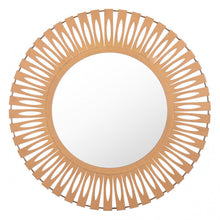Load image into Gallery viewer, Steel & Gold Office Mirror w/ Sunsburst Design