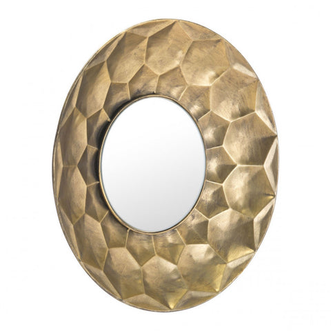 Gold Office Mirror w/ Stamped Hexagon Design