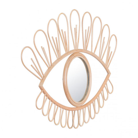 Gold Rattan Office Mirror Shaped Like An Eye
