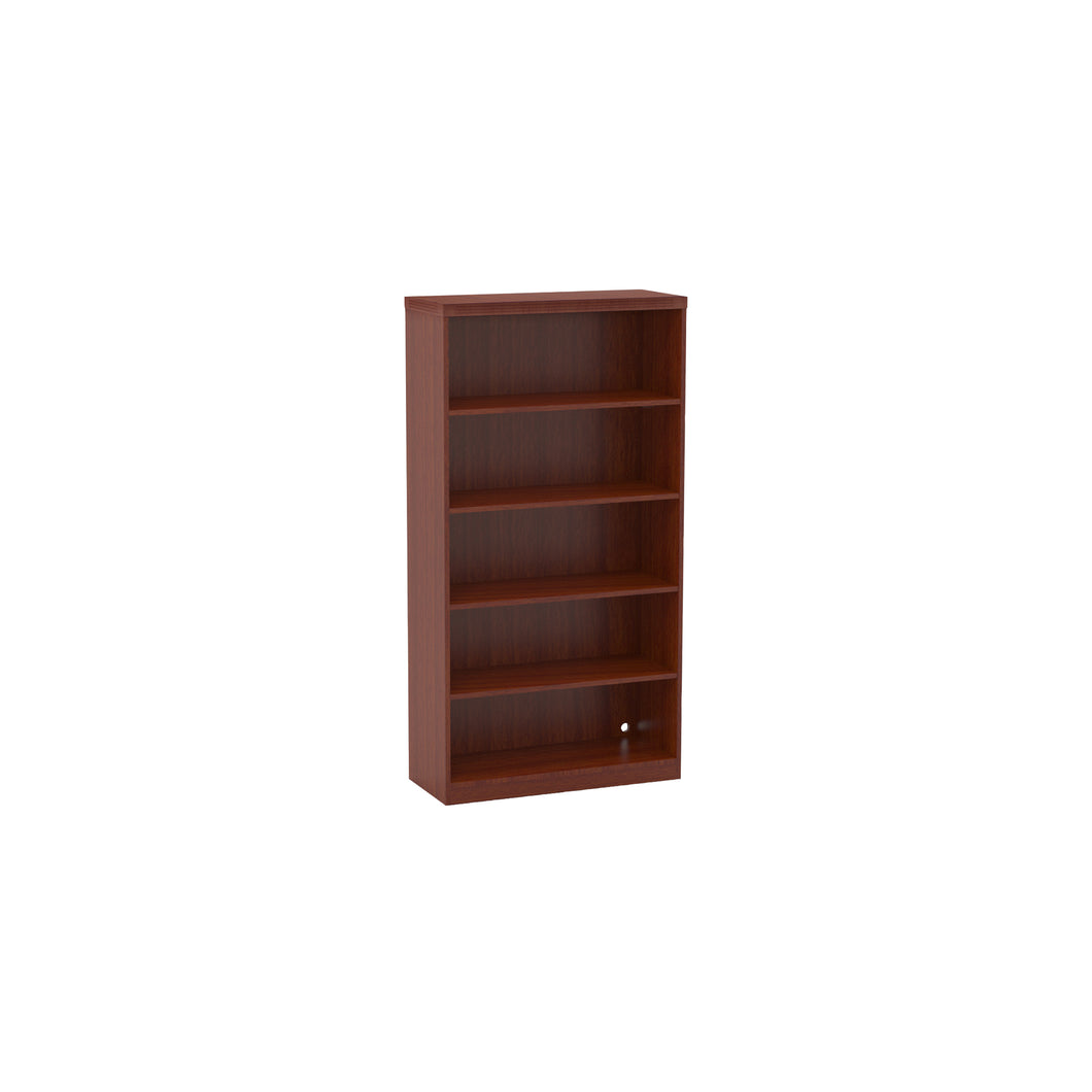 5-Shelf Bookcase in Cherry with Vertical Wire Management