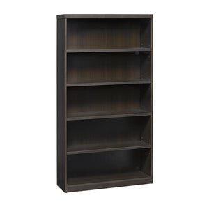 5-Shelf Bookcase in Mocha with Vertical Wire Management