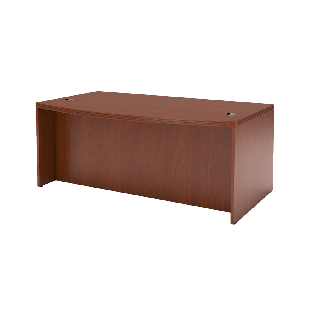 Modern Bow Front Desk with Bow Front in Cherry