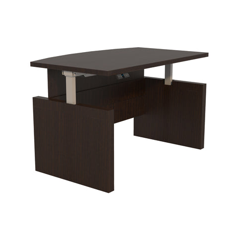 "Sleek 66"" Bow Front Desk in Mocha with Adjustable Height"