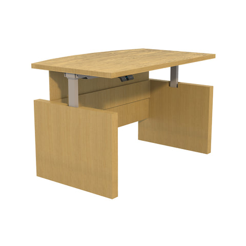 "Sleek 66"" Bow Front Desk in Maple with Adjustable Height"