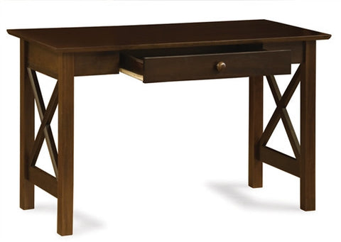 lexington solid wood desk table with sliding drawer in antique walnut