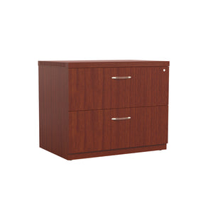 "Stylish 30"" Lateral File with Lock and Brushed Nickel Handles in Cherry"