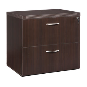 "Stylish 30"" Lateral File with Lock and Brushed Nickel Handles in Mocha"