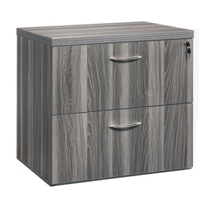 "Stylish 36"" Lateral File with Lock and Brushed Nickel Handles in Gray"