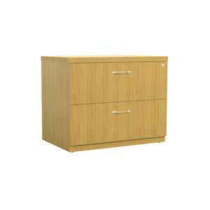 "Stylish 36"" Lateral File with Lock and Brushed Nickel Handles in Maple"