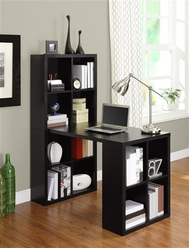 Black Desk Amp Bookcase Combination With Maximum Storage And
