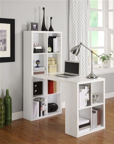 White Desk & Double Bookshelf Combination with Maximum Storage