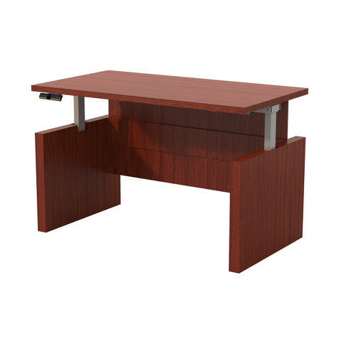 "Sleek 60"" Desk in Cherry with Adjustable Height"