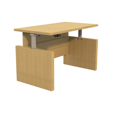 "Sleek 60"" Desk in Maple with Adjustable Height"