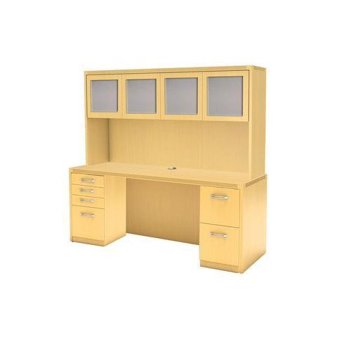 "72"" Executive Desk and Hutch with Glass doors in Maple"