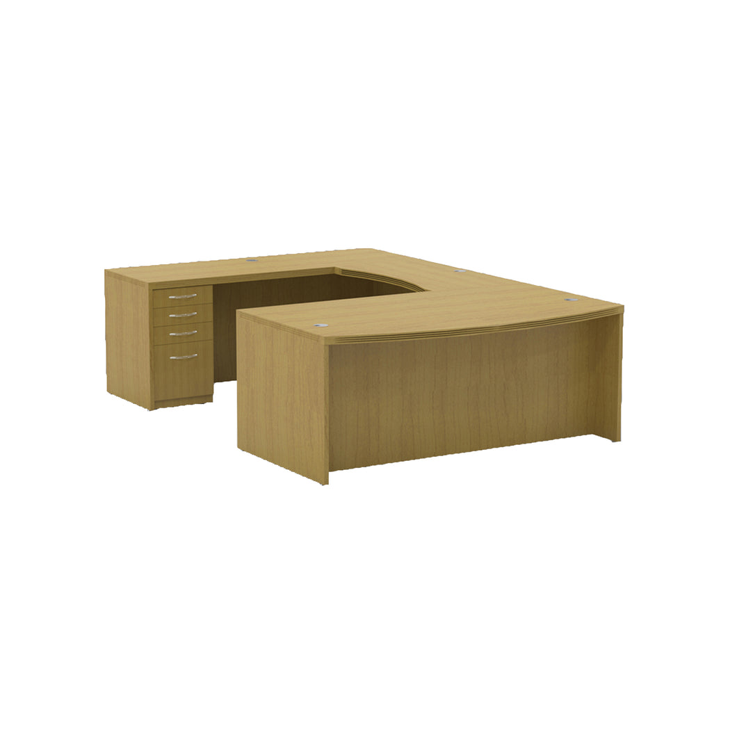 U-Shaped Executive Desk in Maple with Integrated Pedestals and Cable Management