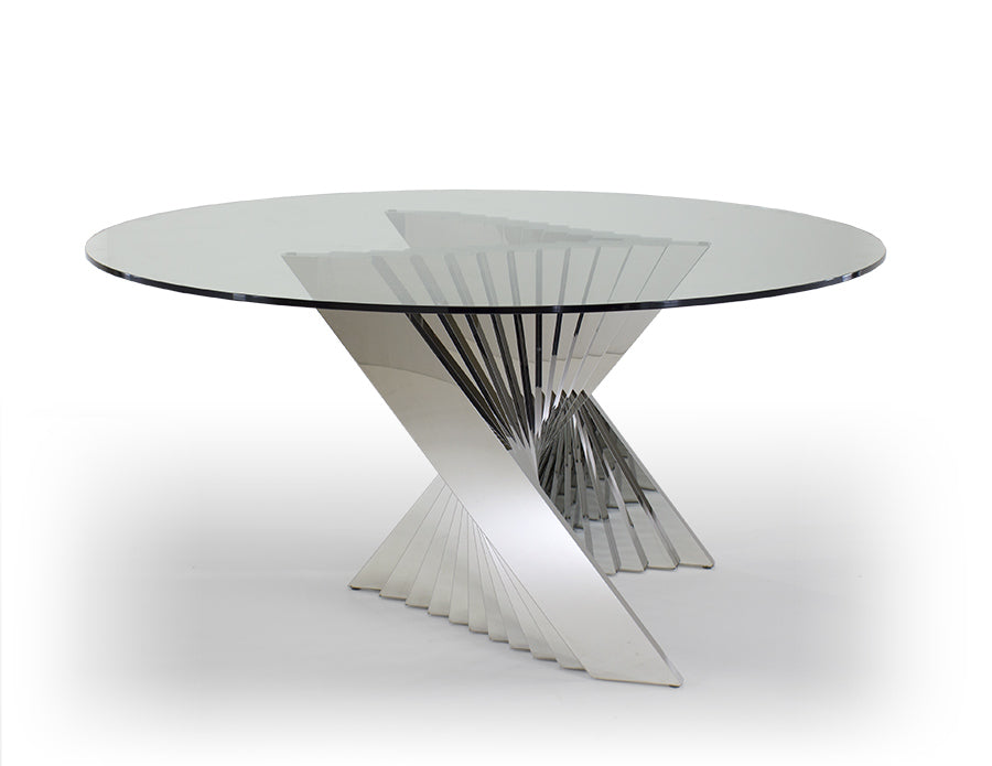 Sleek Circular Glass Meeting Table with Unique Chromed Steel Base