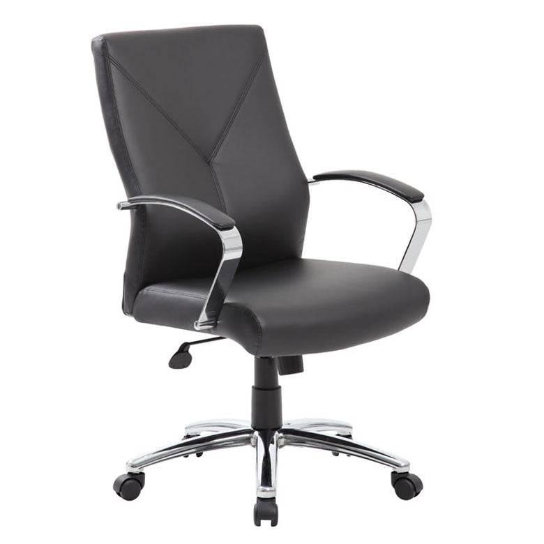 Gorgeous Black Leather & Chrome Office Chair w/ Y-Design