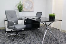 Load image into Gallery viewer, Gorgeous Grey Leather & Chrome Office Chair w/ Y-Design