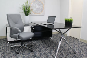 Gorgeous Grey Leather & Chrome Office Chair w/ Y-Design