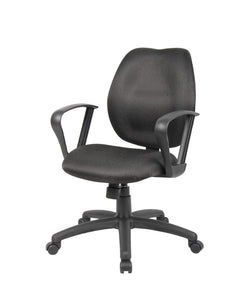 Padded Everyday Black Mid Back Office Chair w/ Loop Arms
