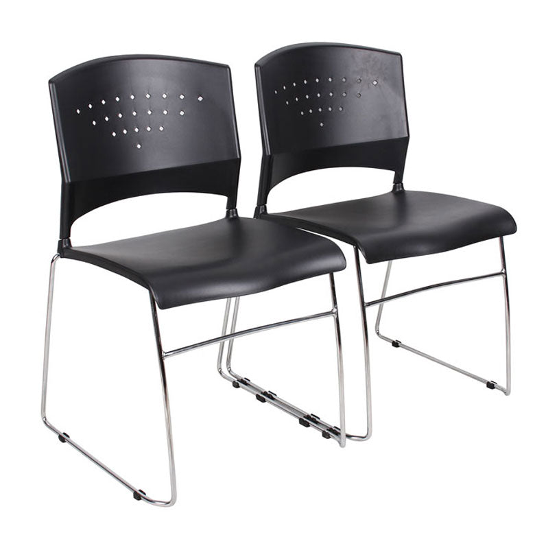 Sturdy Black & Chrome Guest or Conference Chairs (Set of 4)