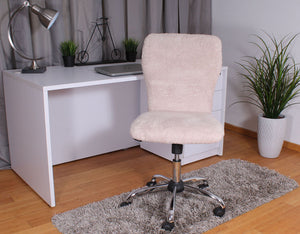 Stunning Cream Fur & Silver Office Chair