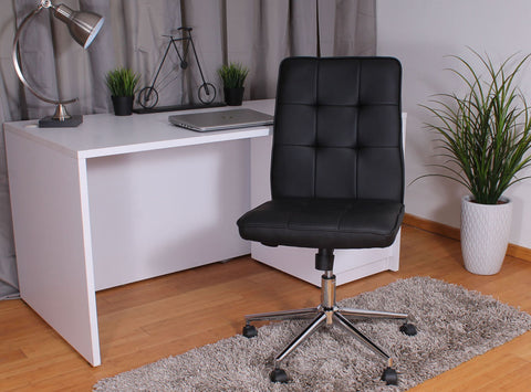 Armless Chair in Black Faux Leather