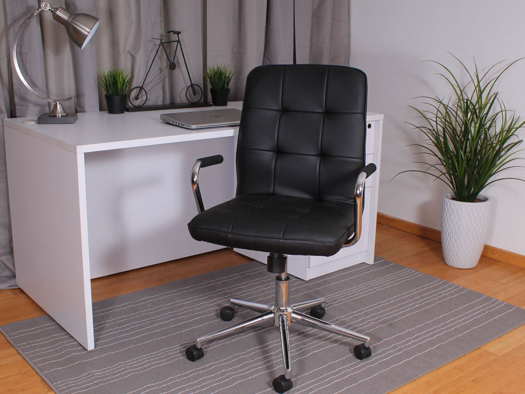 Classic Black Faux Leather Office Chair w/ Button Tufting