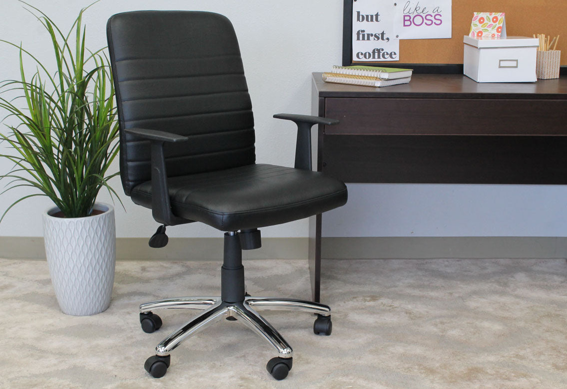 Classic Black Faux Leather Office Chair w/ Arms
