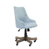 Comfortable Light Blue Velvet Guest Chair w/ Sculpted Back