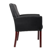 Classic Box Arm Chair in Black Faux Leather & Mahogany