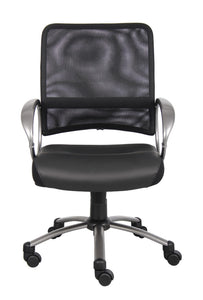 Rolling Office Chair in Black Mesh & Pewter