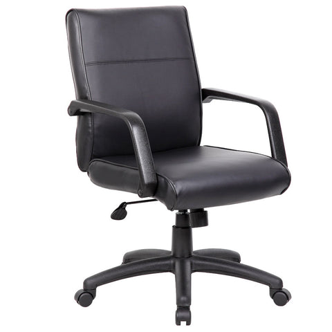 Black Leather Ergonomic Office Chair w/ Classic Design
