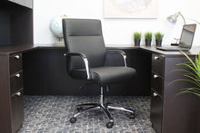 Load image into Gallery viewer, Black Faux Leather & Chrome Ergonomic Office Chair w/ Classic Design