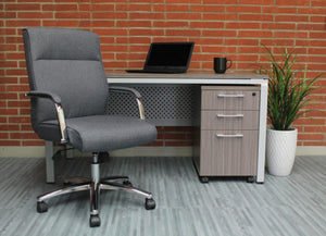 Grey Linen & Chrome Ergonomic Office Chair w/ Classic Design