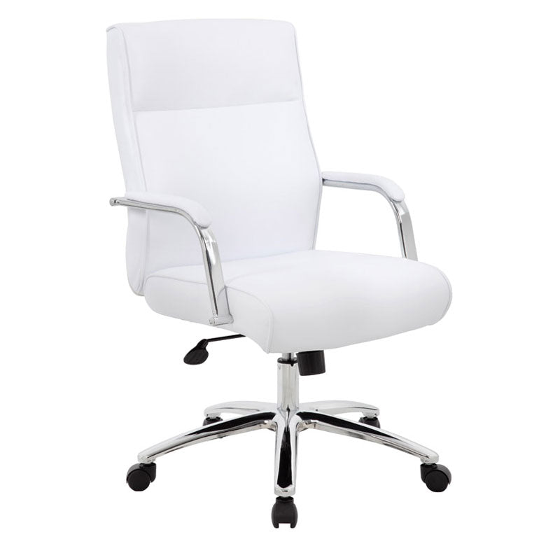 White Leather & Chrome Ergonomic Office Chair w/ Classic Design