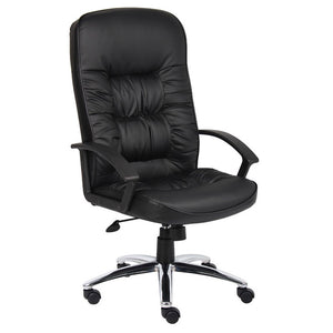 Durable Office Chair w/ Black Faux Leather & Chrome Base
