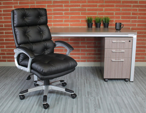 Black Faux Leather Executive Office Chair w/ Button Tufted Design