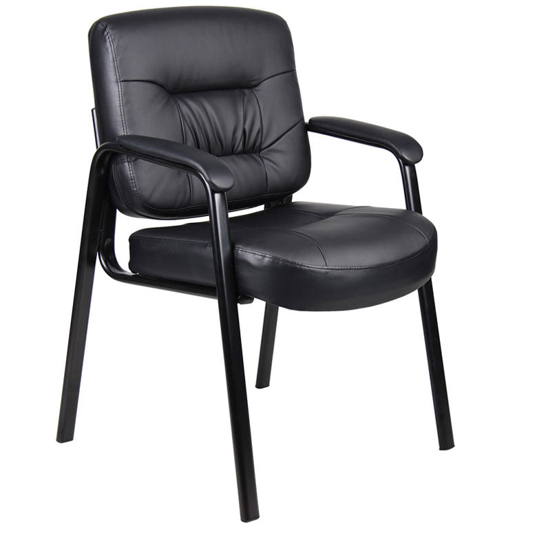 Sturdy Black Faux Leather Guest Chair w/ 4 Legs